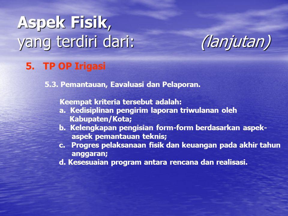 Aspek Fisik, yang terdiri dari: (lanjutan) 5. TP OP Irigasi 5.3. Pemantauan, Eavaluasi dan Pelaporan. Keempat kriteria tersebut adalah: a. Kedisiplina
