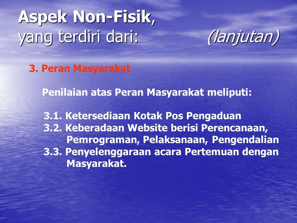 Aspek Non-Fisik, yang terdiri dari: (lanjutan) 3. Peran Masyarakat Penilaian atas Peran Masyarakat meliputi: 3.1. Ketersediaan Kotak Pos Pengaduan 3.2