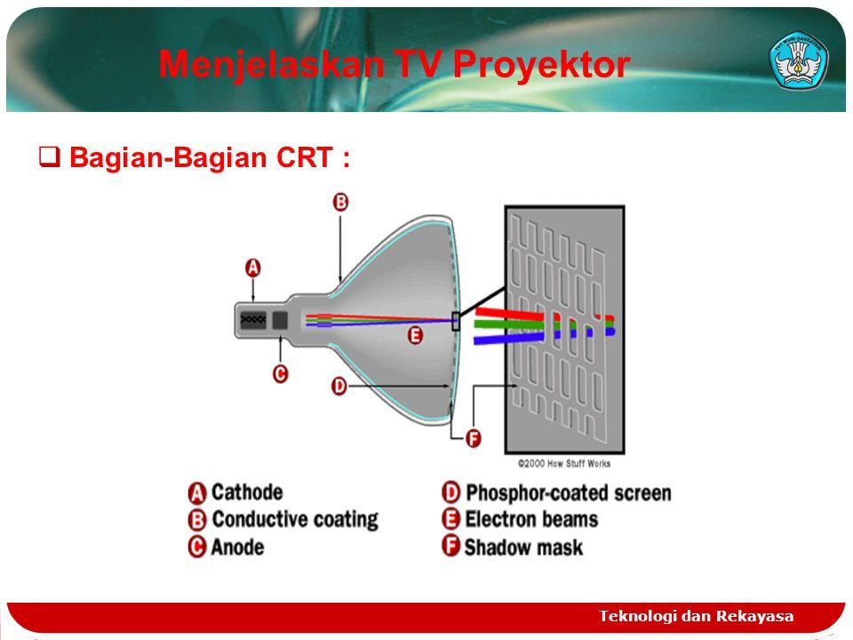 Teknologi dan Rekayasa  TV Proyektor Belakang :  Tabung Sinar Katoda (Cathode Ray Tube /CRT), CRT menggunakan 3 katoda masing-masing menghasilkan warna merah, hijau dan biru.