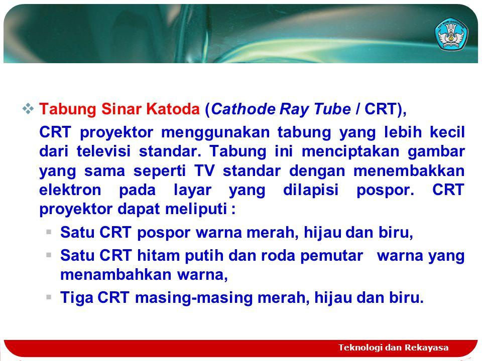 Teknologi dan Rekayasa  Tabung Sinar Katoda (Cathode Ray Tube / CRT), CRT proyektor menggunakan tabung yang lebih kecil dari televisi standar. Tabung