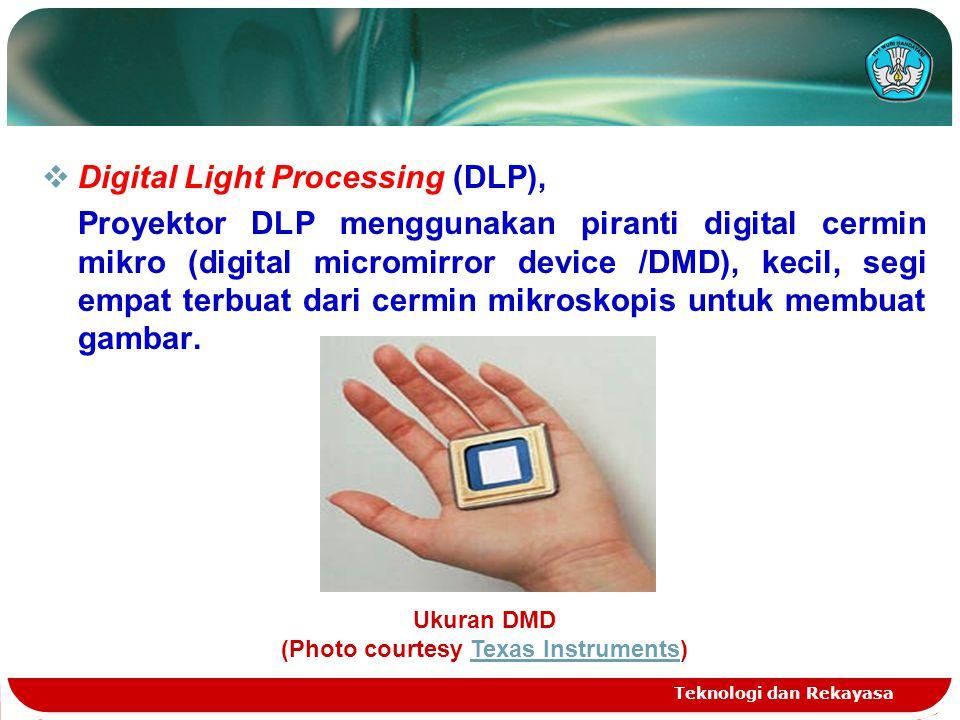 Teknologi dan Rekayasa  Digital Light Processing (DLP), Proyektor DLP menggunakan piranti digital cermin mikro (digital micromirror device /DMD), kec
