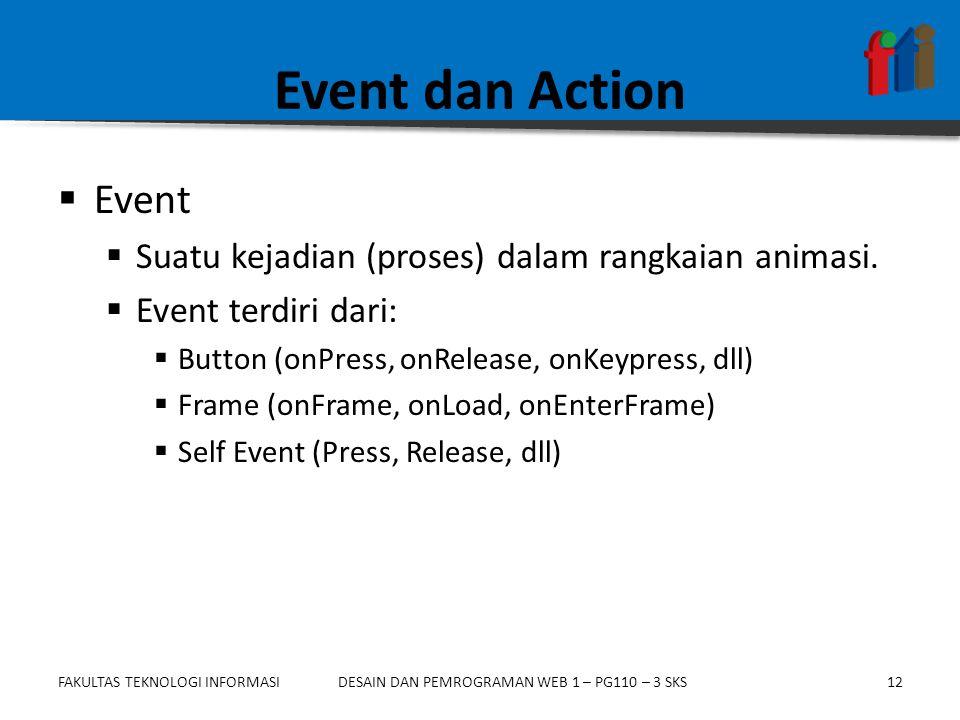 FAKULTAS TEKNOLOGI INFORMASI12DESAIN DAN PEMROGRAMAN WEB 1 – PG110 – 3 SKS Event dan Action  Event  Suatu kejadian (proses) dalam rangkaian animasi.