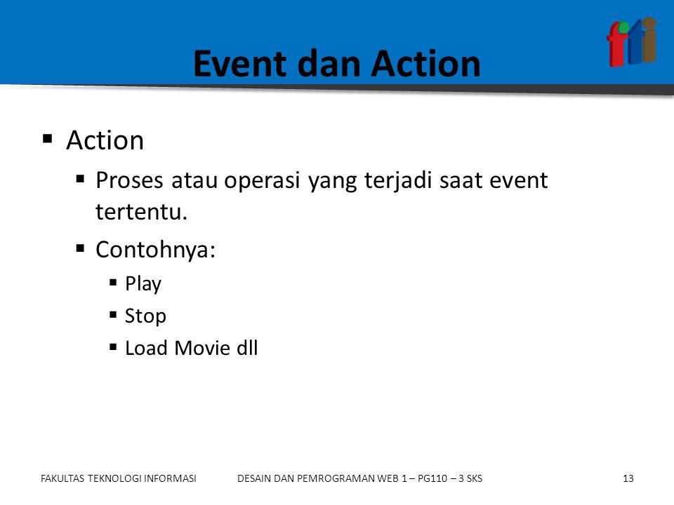 FAKULTAS TEKNOLOGI INFORMASI13DESAIN DAN PEMROGRAMAN WEB 1 – PG110 – 3 SKS Event dan Action  Action  Proses atau operasi yang terjadi saat event tertentu.