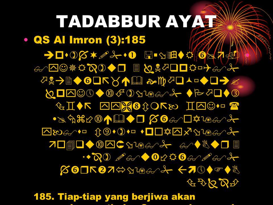TADABBUR AYAT •QS Al Imron (3):185 •                            185.