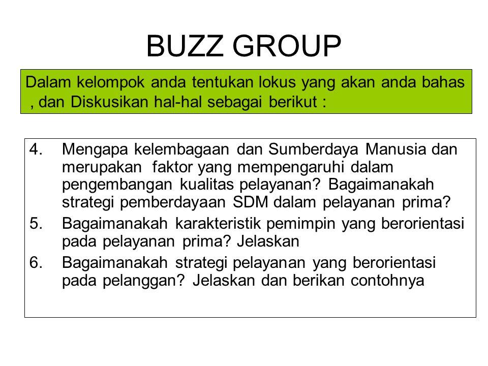 BUZZ GROUP 1.Jelaskan jenis-jenis pelayanan di Unit kerja saudara. (seluruh kelompok) 2.Bagaimanakah kwalitas pelayanan di Unit kerja saudara? Jelaska