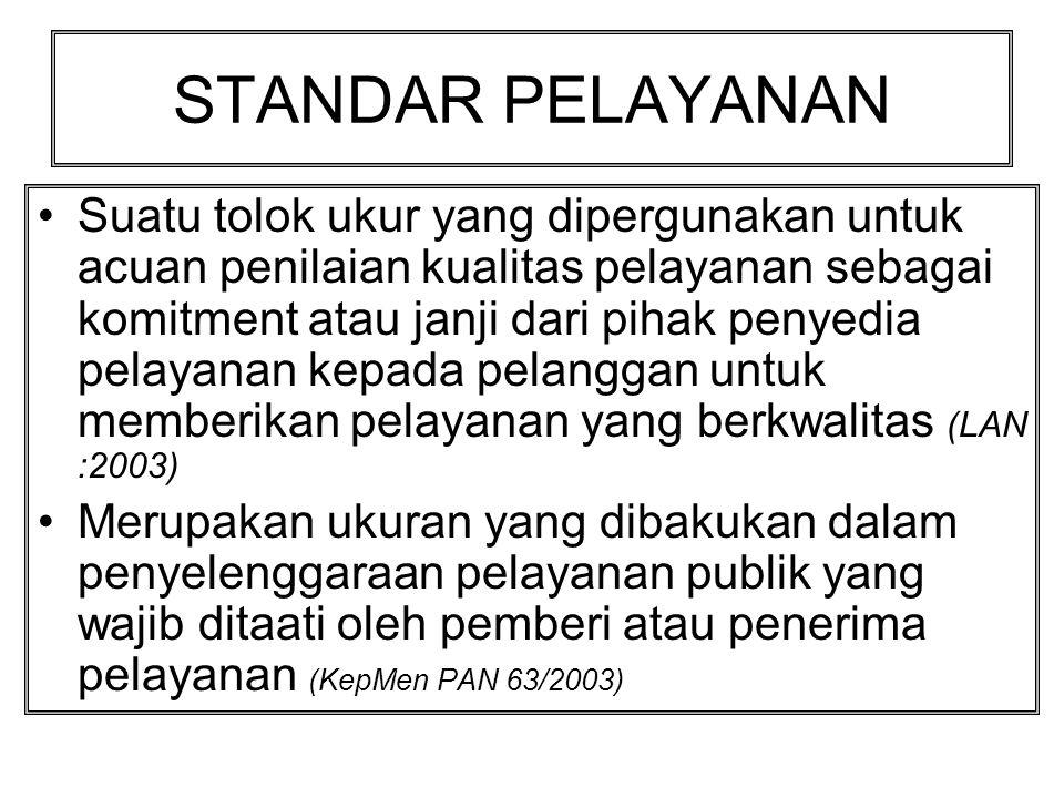 STRATEGI Pengembangan PELAYANAN PRIMA •Dilakukan melalui : 1.Penyusunan Standart pelayanan 2.Penyusunan SOP 3.Pengukuran Kinerja Pelayanan 4.Pengelolaan Pengaduan