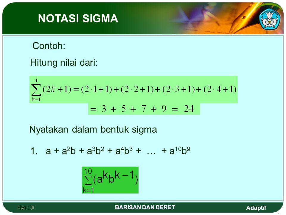 Adaptif Hal.: 10 BARISAN DAN DERET Hal.: 10 NOTASI SIGMA 2. (a + b) n =