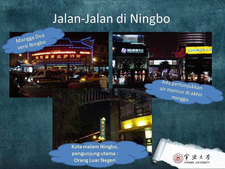 Jalan-Jalan di Ningbo Mangga Dua versi Ningbo Ada pertunjukkan air mancur di akhir minggu Kota malam Ningbo, pengunjung utama : Orang Luar Negeri
