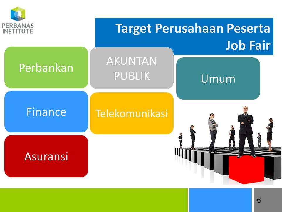 7 6 Target Perusahaan Peserta Job Fair Finance Perbankan Asuransi AKUNTAN PUBLIK Telekomunikasi Umum