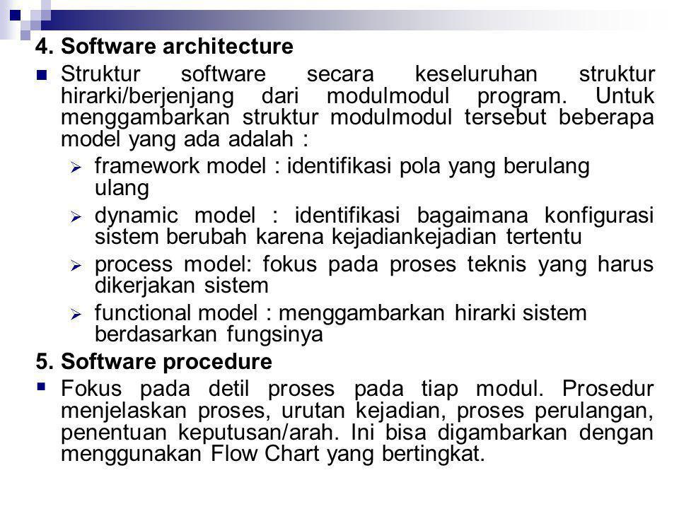 4.Software architecture  Struktur software secara keseluruhan struktur hirarki/berjenjang dari modulmodul program. Untuk menggambarkan struktur modu