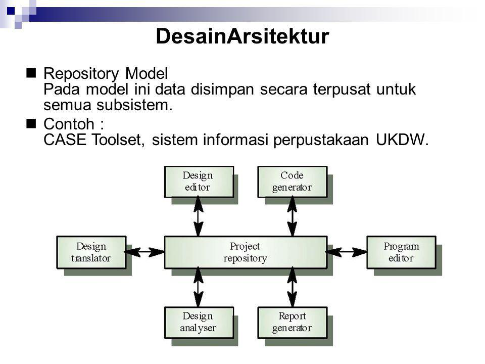 DesainArsitektur  Repository Model Pada model ini data disimpan secara terpusat untuk semua subsistem.  Contoh : CASE Toolset, sistem informasi per