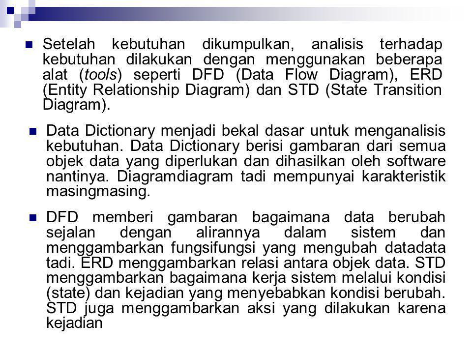  Setelah kebutuhan dikumpulkan, analisis terhadap kebutuhan dilakukan dengan menggunakan beberapa alat (tools) seperti DFD (Data Flow Diagram), ERD (