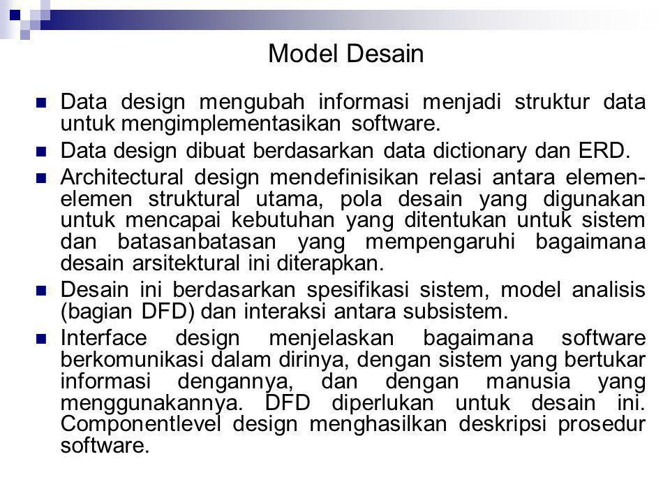  Data design mengubah informasi menjadi struktur data untuk mengimplementasikan software.  Data design dibuat berdasarkan data dictionary dan ERD. 