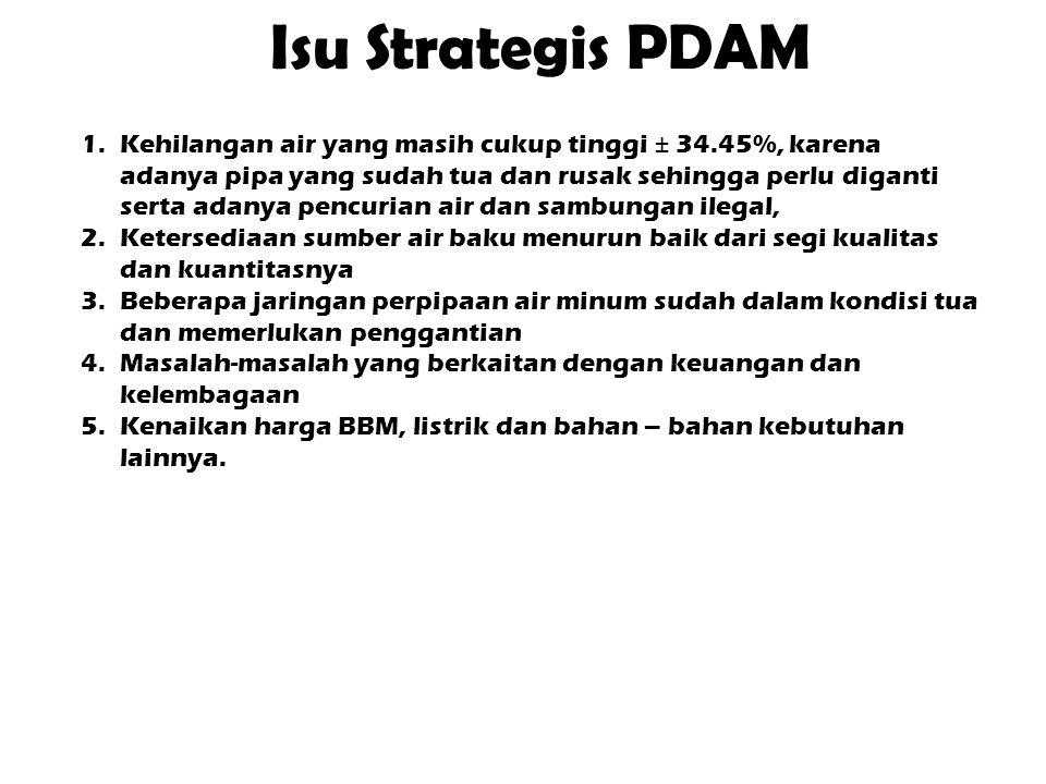 Isu Strategis PDAM 1.Kehilangan air yang masih cukup tinggi ± 34.45%, karena adanya pipa yang sudah tua dan rusak sehingga perlu diganti serta adanya