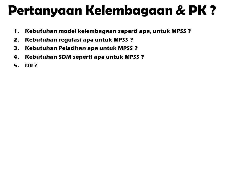 Pertanyaan Kelembagaan & PK ? 1.Kebutuhan model kelembagaan seperti apa, untuk MPSS ? 2.Kebutuhan regulasi apa untuk MPSS ? 3.Kebutuhan Pelatihan apa