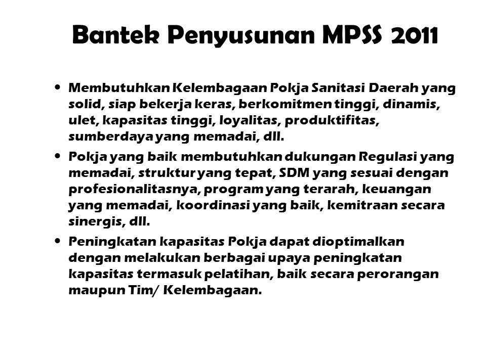 Bantek Penyusunan MPSS 2011  Membutuhkan Kelembagaan Pokja Sanitasi Daerah yang solid, siap bekerja keras, berkomitmen tinggi, dinamis, ulet, kapasitas tinggi, loyalitas, produktifitas, sumberdaya yang memadai, dll.