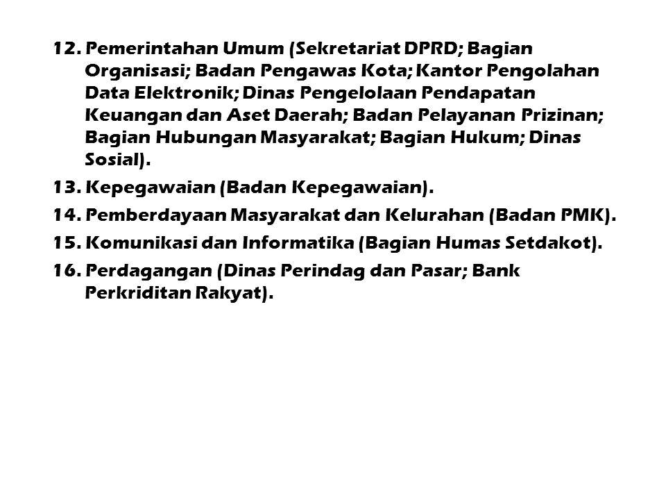 12. Pemerintahan Umum (Sekretariat DPRD; Bagian Organisasi; Badan Pengawas Kota; Kantor Pengolahan Data Elektronik; Dinas Pengelolaan Pendapatan Keuan