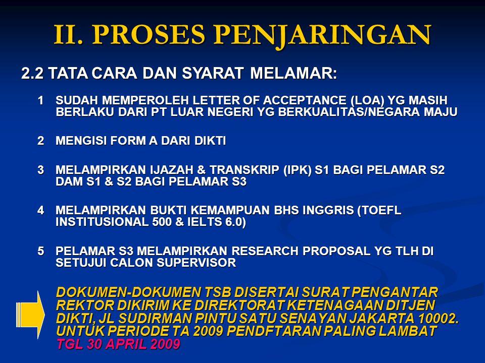 II. PROSES PENJARINGAN 2.2 TATA CARA DAN SYARAT MELAMAR: 1SUDAH MEMPEROLEH LETTER OF ACCEPTANCE (LOA) YG MASIH BERLAKU DARI PT LUAR NEGERI YG BERKUALI