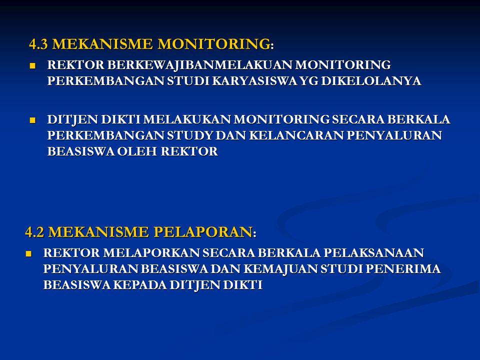 4.3 MEKANISME MONITORING :  REKTOR BERKEWAJIBANMELAKUAN MONITORING PERKEMBANGAN STUDI KARYASISWA YG DIKELOLANYA  DITJEN DIKTI MELAKUKAN MONITORING S