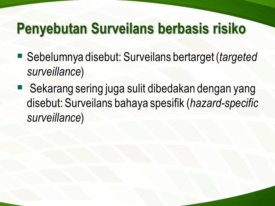 Penyebutan Surveilans berbasis risiko  Sebelumnya disebut: Surveilans bertarget ( targeted surveillance )  Sekarang sering juga sulit dibedakan deng