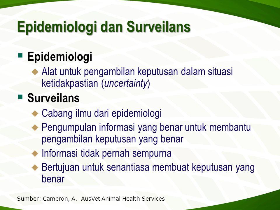 Epidemiologi dan Surveilans  Epidemiologi  Alat untuk pengambilan keputusan dalam situasi ketidakpastian ( uncertainty )  Surveilans  Cabang ilmu
