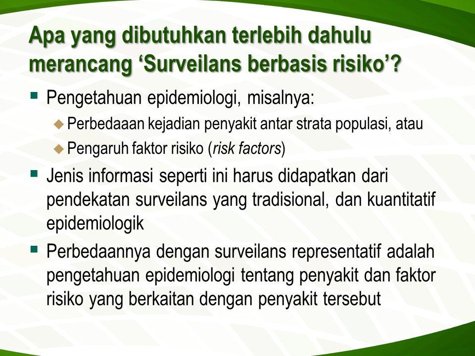Apa yang dibutuhkan terlebih dahulu merancang 'Surveilans berbasis risiko'?  Pengetahuan epidemiologi, misalnya:  Perbedaaan kejadian penyakit antar