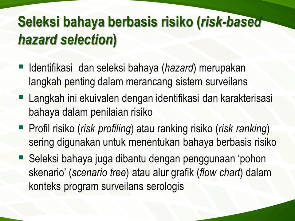 Seleksi bahaya berbasis risiko ( risk-based hazard selection )  Identifikasi dan seleksi bahaya ( hazard ) merupakan langkah penting dalam merancang