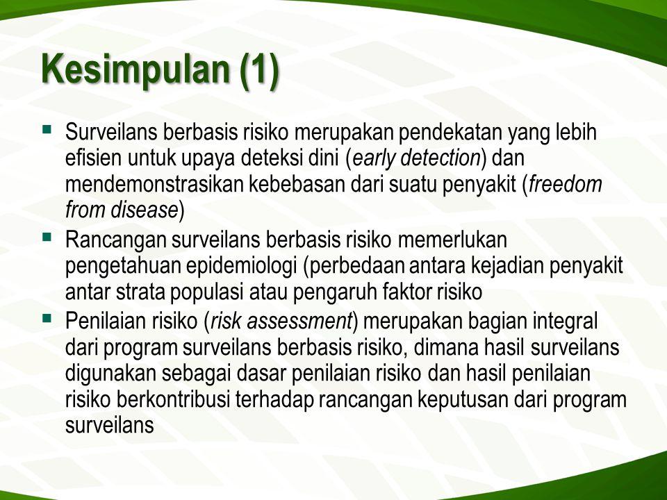 Kesimpulan (1)  Surveilans berbasis risiko merupakan pendekatan yang lebih efisien untuk upaya deteksi dini ( early detection ) dan mendemonstrasikan