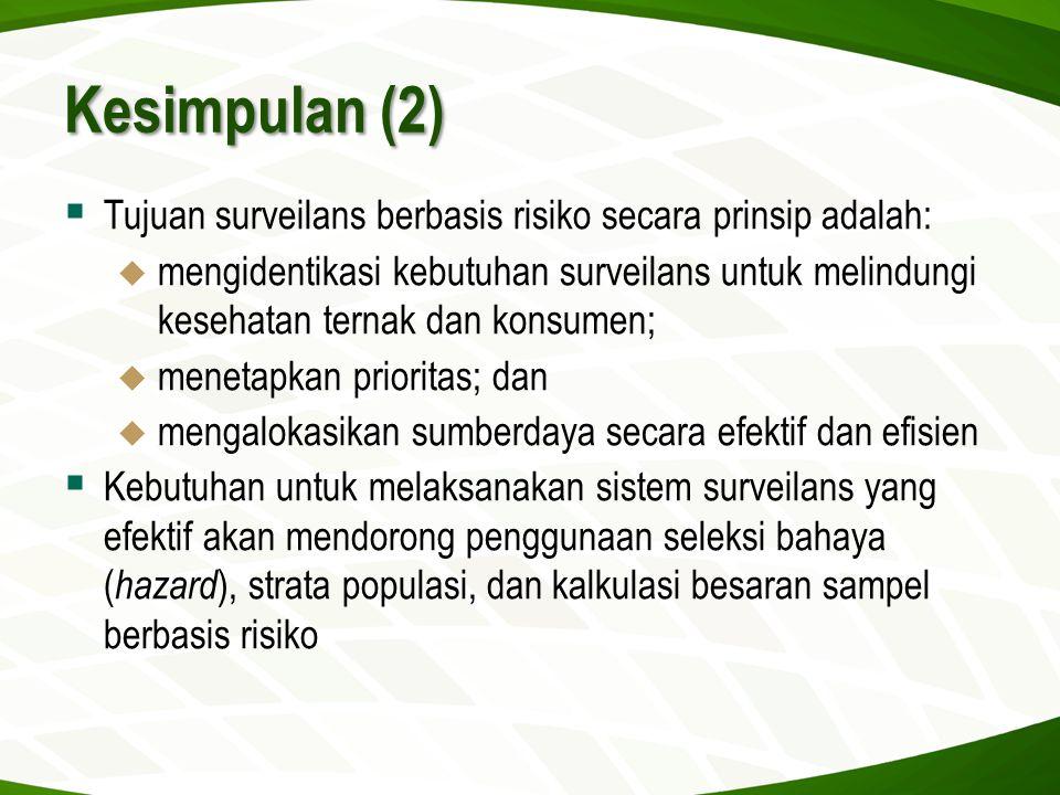 Kesimpulan (2)  Tujuan surveilans berbasis risiko secara prinsip adalah:  mengidentikasi kebutuhan surveilans untuk melindungi kesehatan ternak dan
