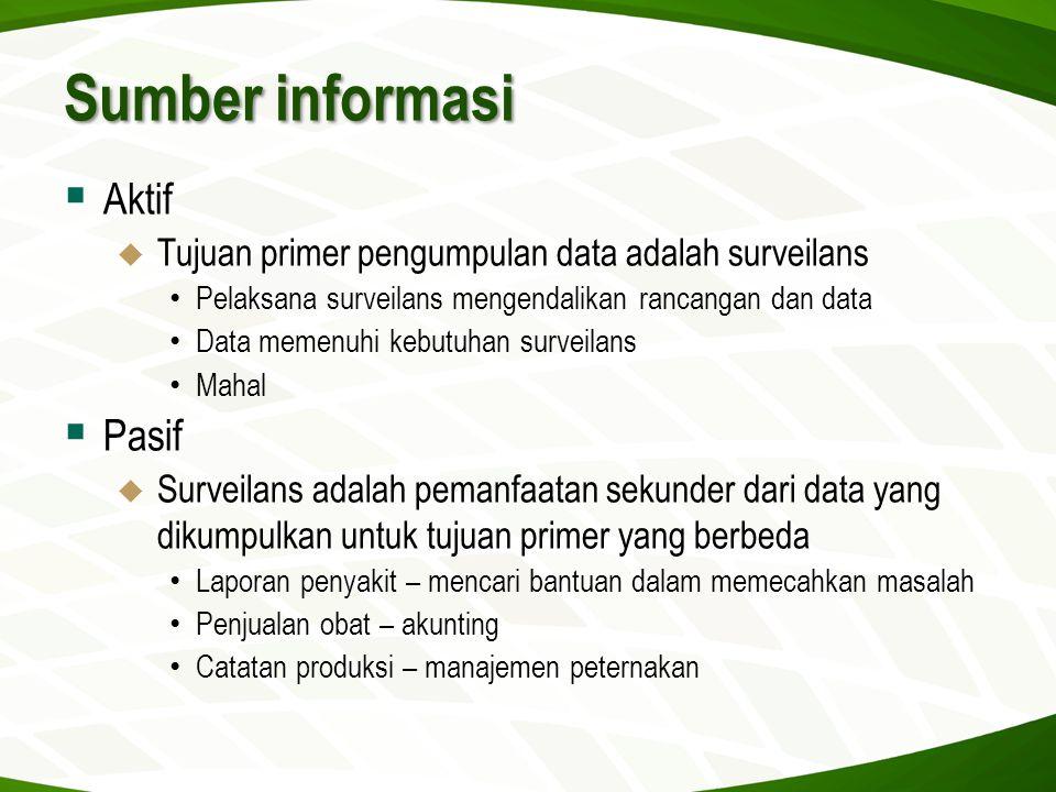 Sumber informasi  Aktif  Tujuan primer pengumpulan data adalah surveilans • Pelaksana surveilans mengendalikan rancangan dan data • Data memenuhi ke