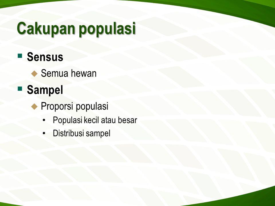 Cakupan populasi  Sensus  Semua hewan  Sampel  Proporsi populasi • Populasi kecil atau besar • Distribusi sampel
