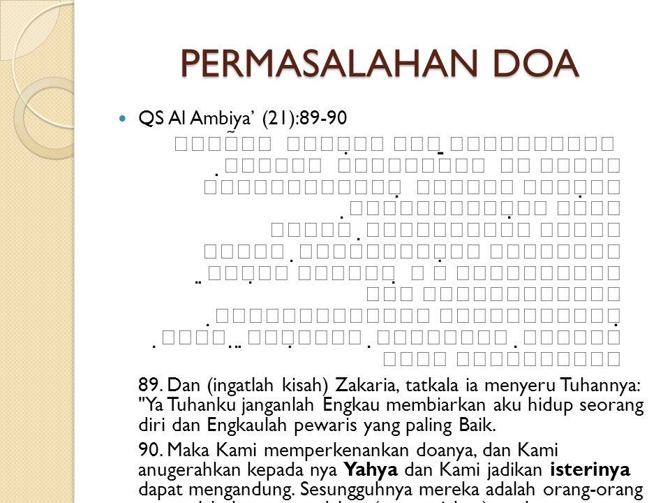 PERMASALAHAN DOA  QS Al Ambiya' (21):89-90                                    89.
