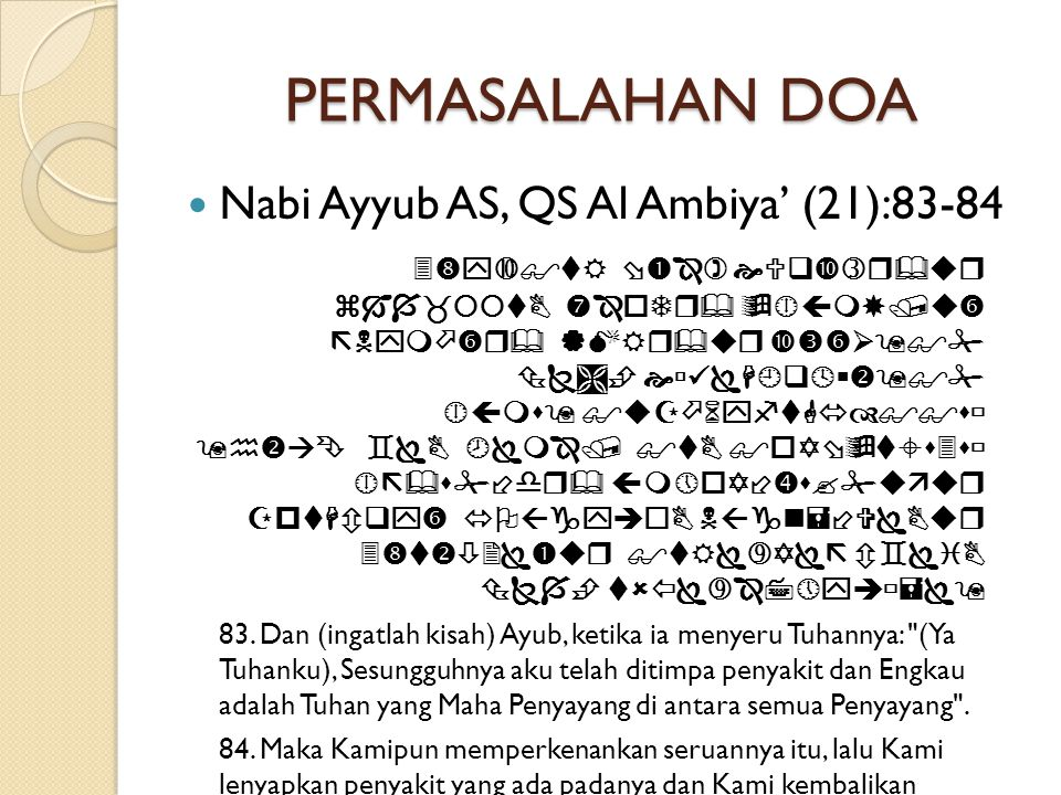 PERMASALAHAN DOA  Nabi Ayyub AS, QS Al Ambiya' (21):83-84                             83.