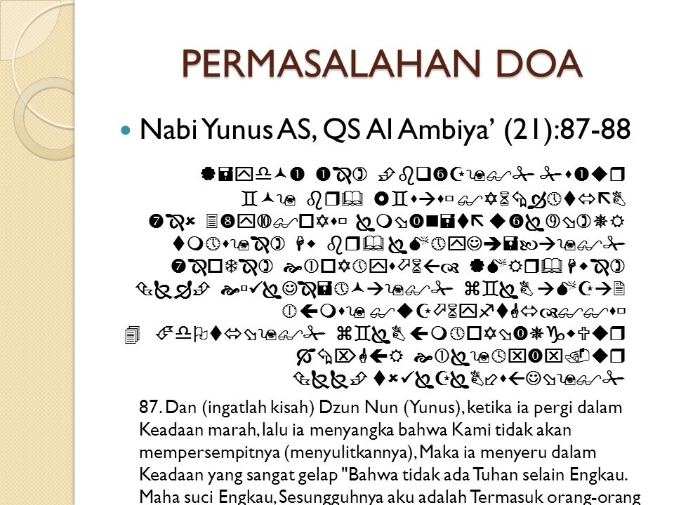 PERMASALAHAN DOA  Nabi Yunus AS, QS Al Ambiya' (21):87-88                                   87.