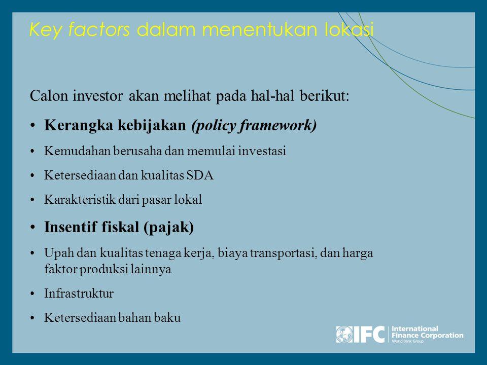 Key factors dalam menentukan lokasi Calon investor akan melihat pada hal-hal berikut: •Kerangka kebijakan (policy framework) •Kemudahan berusaha dan memulai investasi •Ketersediaan dan kualitas SDA •Karakteristik dari pasar lokal •Insentif fiskal (pajak) •Upah dan kualitas tenaga kerja, biaya transportasi, dan harga faktor produksi lainnya •Infrastruktur •Ketersediaan bahan baku