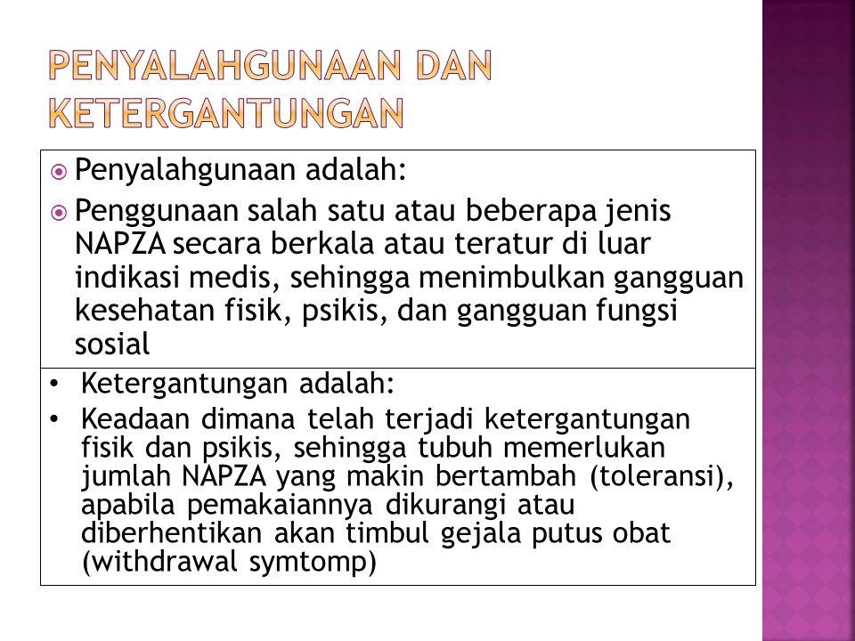 3. Golongan Halusinogen: - Menimbulkan efek halusinasi - Mengubah perasaan, pikiran, seringkali menciptakan daya pandang berbeda - Contoh : Kanabis (g