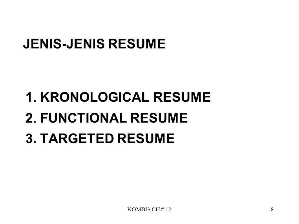 KOMBIS CH # 128 JENIS-JENIS RESUME 1. KRONOLOGICAL RESUME 2. FUNCTIONAL RESUME 3. TARGETED RESUME