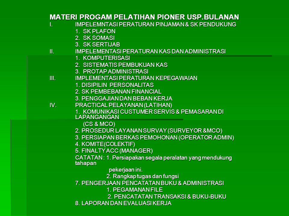 MATERI PROGAM PELATIHAN PIONER USP.BULANAN I.IMPELEMNTASI PERATURAN PINJAMAN & SK PENDUKUNG 1.