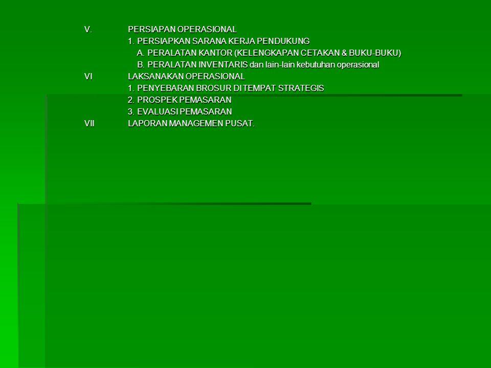 V.PERSIAPAN OPERASIONAL 1. PERSIAPKAN SARANA KERJA PENDUKUNG A. PERALATAN KANTOR (KELENGKAPAN CETAKAN & BUKU-BUKU) A. PERALATAN KANTOR (KELENGKAPAN CE