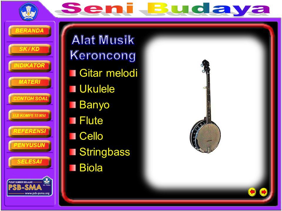 BERANDA SK / KD INDIKATOR MATERI CONTOH SOAL UJI KOMPETENSI REFERENSI PENYUSUN SELESAI Gitar melodi Ukulele Banyo Flute Cello Stringbass Biola