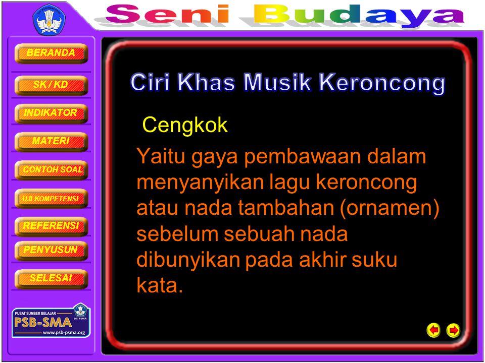 BERANDA SK / KD INDIKATOR MATERI CONTOH SOAL UJI KOMPETENSI REFERENSI PENYUSUN SELESAI Cengkok Yaitu gaya pembawaan dalam menyanyikan lagu keroncong a