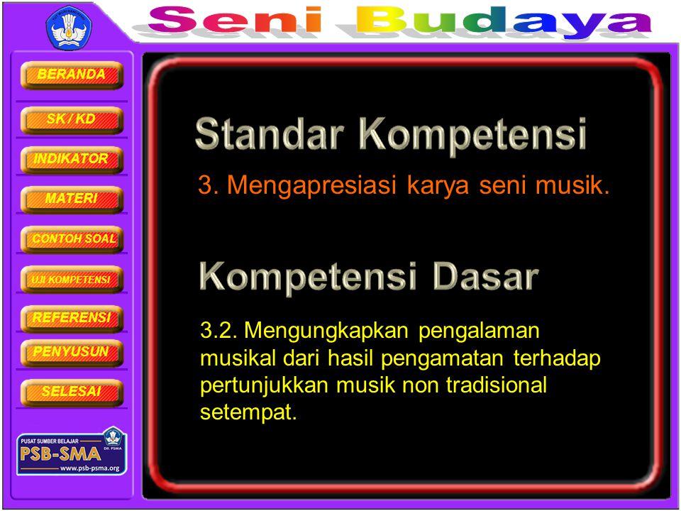 BERANDA SK / KD INDIKATOR MATERI CONTOH SOAL UJI KOMPETENSI REFERENSI PENYUSUN SELESAI 3. Mengapresiasi karya seni musik. 3.2. Mengungkapkan pengalama
