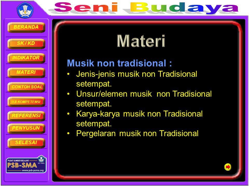 BERANDA SK / KD INDIKATOR MATERI CONTOH SOAL UJI KOMPETENSI REFERENSI PENYUSUN SELESAI Musik non tradisional : •Jenis-jenis musik non Tradisional sete