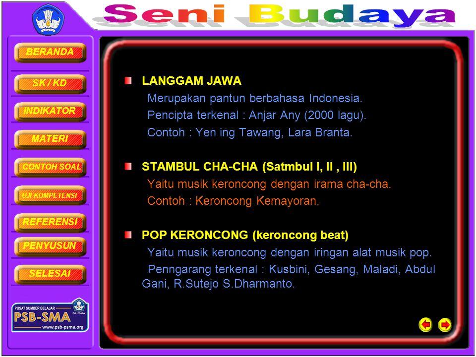BERANDA SK / KD INDIKATOR MATERI CONTOH SOAL UJI KOMPETENSI REFERENSI PENYUSUN SELESAI LANGGAM JAWA Merupakan pantun berbahasa Indonesia. Pencipta ter
