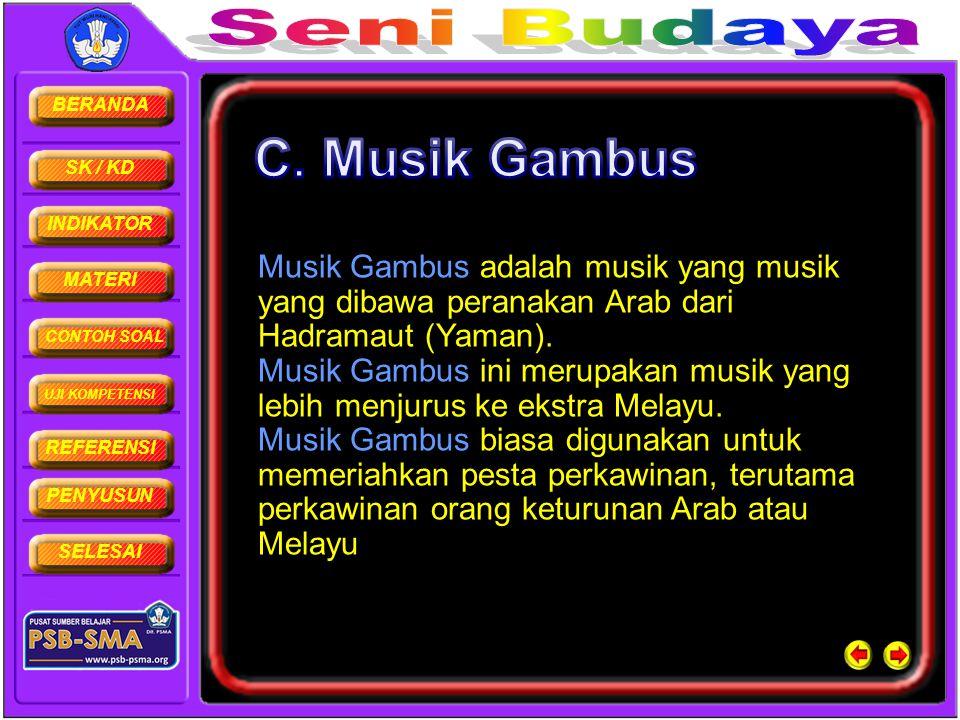 BERANDA SK / KD INDIKATOR MATERI CONTOH SOAL UJI KOMPETENSI REFERENSI PENYUSUN SELESAI Musik Gambus adalah musik yang musik yang dibawa peranakan Arab
