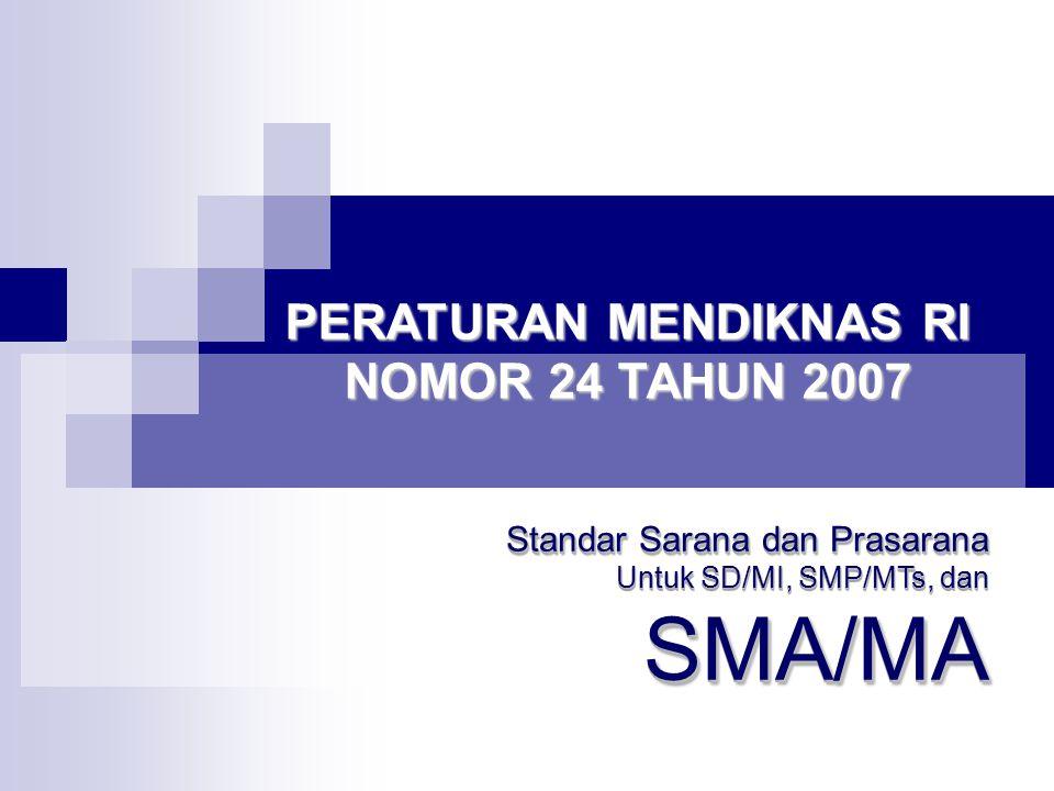 PERATURAN MENDIKNAS RI NOMOR 24 TAHUN 2007 Standar Sarana dan Prasarana Untuk SD/MI, SMP/MTs, dan SMA/MA Standar Sarana dan Prasarana Untuk SD/MI, SMP