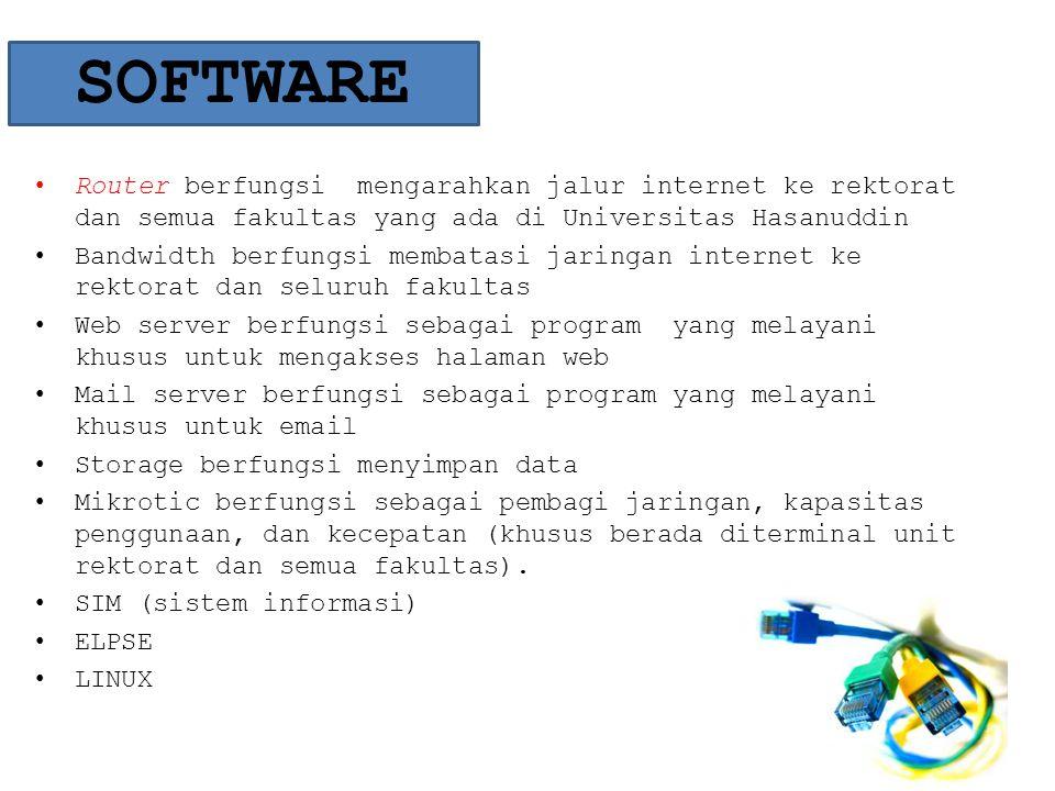SOFTWARE • Router berfungsi mengarahkan jalur internet ke rektorat dan semua fakultas yang ada di Universitas Hasanuddin • Bandwidth berfungsi membata