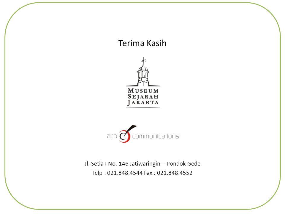 Terima Kasih Jl. Setia I No. 146 Jatiwaringin – Pondok Gede Telp : 021.848.4544 Fax : 021.848.4552