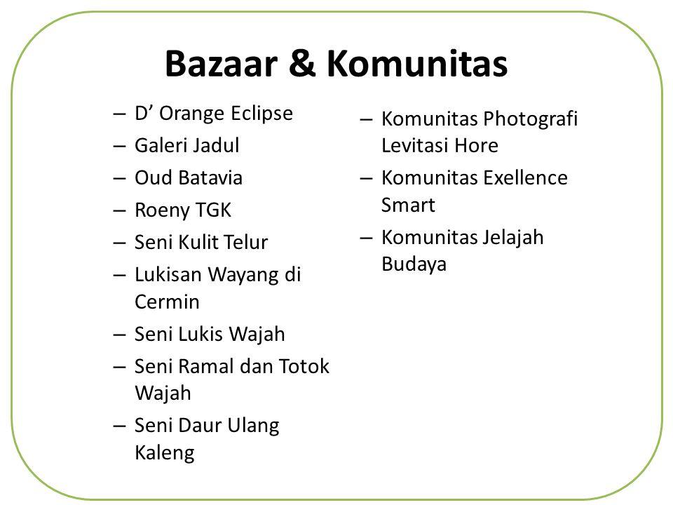 Bazaar & Komunitas – D' Orange Eclipse – Galeri Jadul – Oud Batavia – Roeny TGK – Seni Kulit Telur – Lukisan Wayang di Cermin – Seni Lukis Wajah – Seni Ramal dan Totok Wajah – Seni Daur Ulang Kaleng – Komunitas Photografi Levitasi Hore – Komunitas Exellence Smart – Komunitas Jelajah Budaya