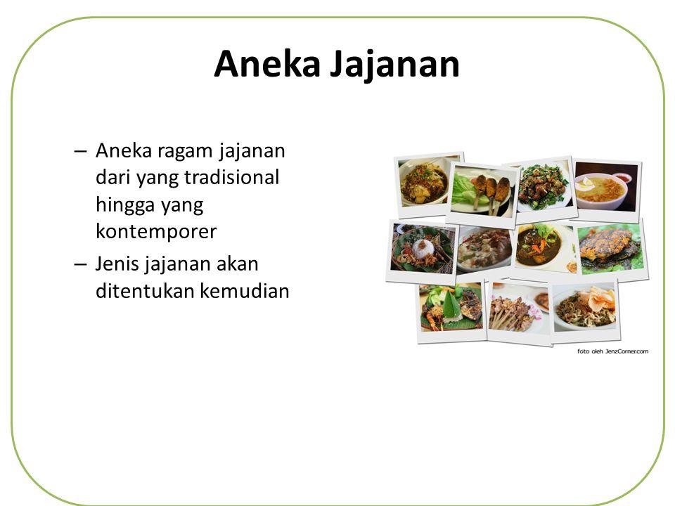 Aneka Jajanan – Aneka ragam jajanan dari yang tradisional hingga yang kontemporer – Jenis jajanan akan ditentukan kemudian